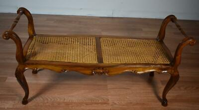 1910s Antique French carved Walnut & Cane seat Bench