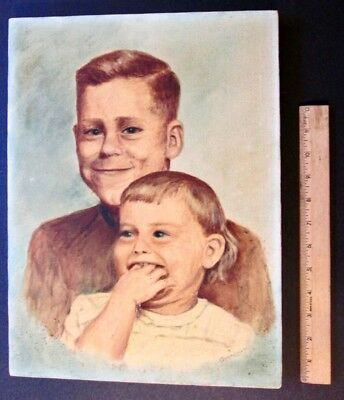 ULTRA KITSCHY 1950s PORTRAIT OF TWO CHILDREN Signed Grundman ~ Primitive