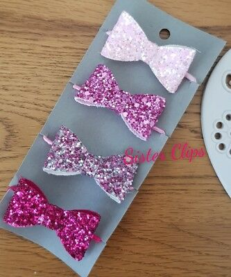 Girls Handmade 4 baby/toddler small pink Glitter Hair Bow bobbles