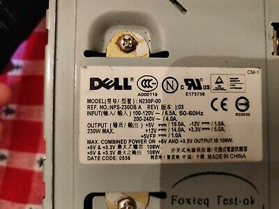Dell H230N-00 230W ATX Power Supply PSU TESTED FREE SHIPPING