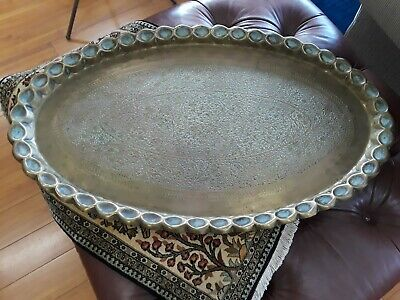 "Very Large 36"" Antique/Vtg Oval Solid Brass Embossed Tray Table Top"