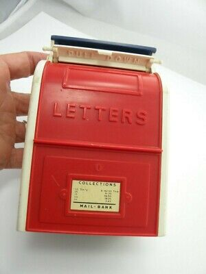 """Vintage Mailbox Letters Hard Plastic Bank Red White & Blue 5"""" Tall X 3 1/4"""" W"""