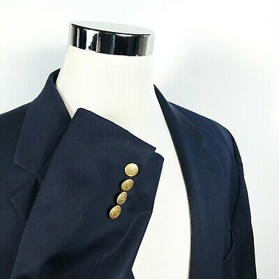 Chaps Mens Mens 48R Blazer 100% Wool Navy Blue Gold Two Button Lined Vented