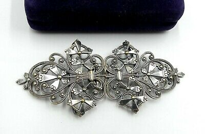 """Antique Victorian silver plated belt buckle 4"""" ½ x 1"""" 7/8"""