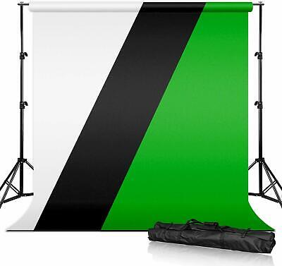 5'x10' Backdrops(Green, Black, White), 10 ft. Background Support Stand Kit