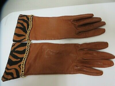 Unique Gloves Medium Brown Leather with Animal Print & Gold Chain Size 7 Italy