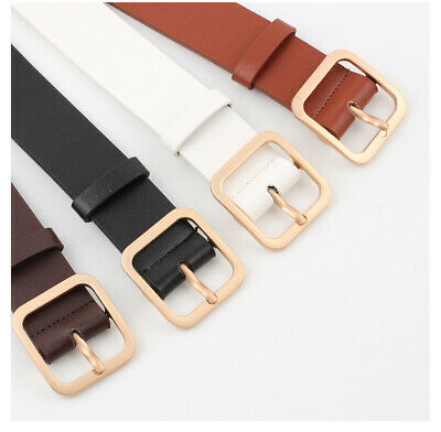Fashion Women Waist Gold Waistband Leather Women Belt Silver Metal  Geometric