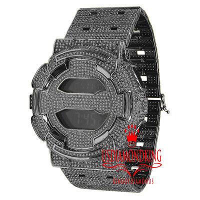 Black Gold Custom Casio G-Shock GD100 Watch Simulated Diamonds Adjustable Band