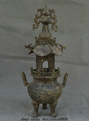"17.2"" Antique Old Chinese Bronze Ware Dynasty Dragon Tower Incense Burner Censer"