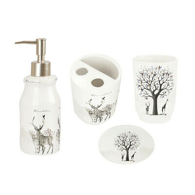 4pcs Ceramic Bahtroom Accessories Soap Dish Pump Bottle Toothbrush Holder Cup B