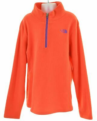 THE NORTH FACE Girls Zip Neck Fleece Jumper 14-15 Years Large Red  HS12