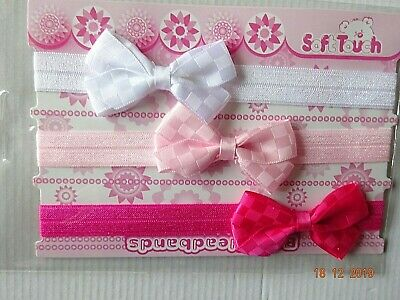 Baby Girl Bow Pink Red White Headbands, Hairband Set Of 3