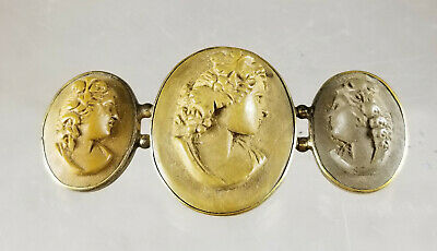 Antique Carved Lava Cameo Triptych Pin Three Graces Bronze Mount