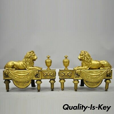 Pair of 19th Century French Louis XVI Neoclassical Gilt Bronze Lion Chenets