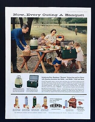 THERMOS 107 family Picnic Image 1956 Vintage Print Ad