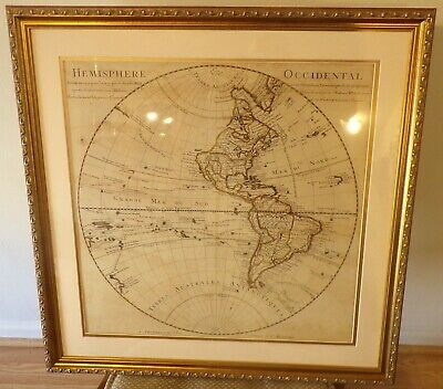 300 Year Old Guillaume De L'Isle Early 18th Century Map W. Hemisphere New Frame!