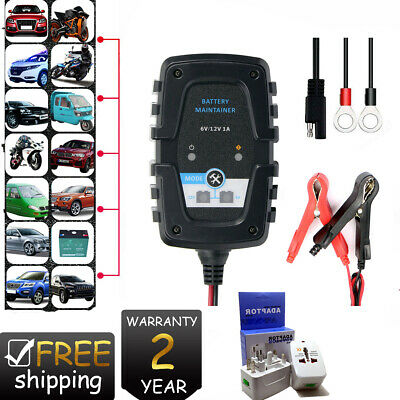12 Volt 1 Amp 12V 6V Automatic Intelligent Battery Charger Trickle Fast Car Van