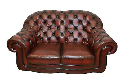 English Leather Chesterfield Love Seat, Tufted