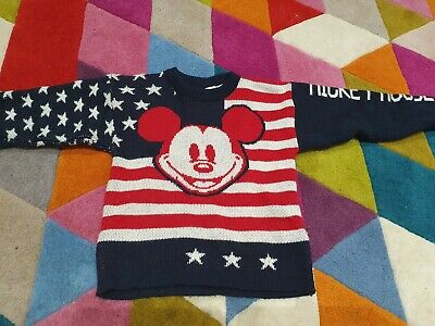 Disney Land Mickey Mouse Usa Signature Jumper Sweater 4-5 Years Boys Girls Euc