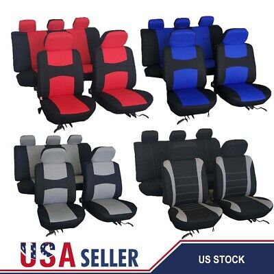 Universal Car Seat Covers Front &Rear Head Rest Full Set Auto SUV Truck 12 Color