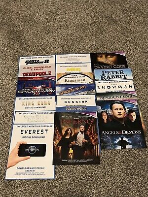 19 x DEADPOOL 2 KINGSMAN FANTASTIC BEASTS MEG DUNKIRK *UV DOWNLOAD CODES* DVD