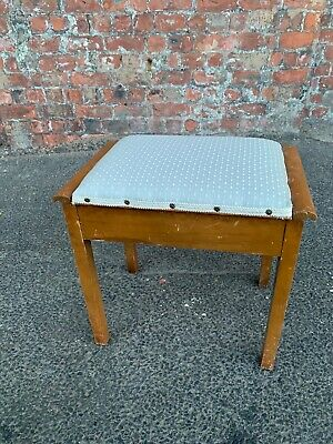 Mid-Century Vintage Light Wood Piano Stool With Storage - Dressing Table Stool