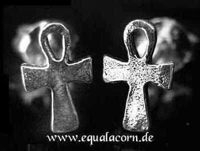 Ankh Ear Studs Silver Gothic Jewelry New