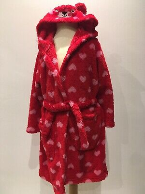 Girls M&S Red With Hearts Warm Fluffy Hooded Dressing Gown 5-6 Years