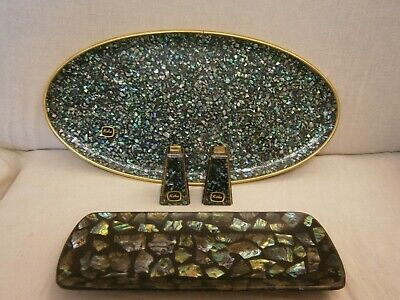 Collectible Paua Shell Salt And Pepper Shakers And Trays X 2 - Vgc