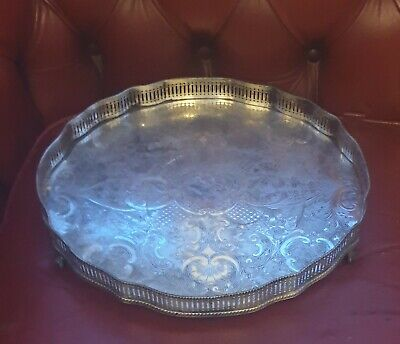 An Antique Silver Plated On Copper Large Round Gallery Tray made in Sheffield 35