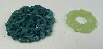 Lot Of 2 Vintage Blue & Green Jade Stone Amulet Pendants Chinese Hand-Carved