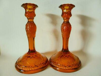 Pair of Vintage Depression Glass Candle Holders, Amber Glass Candlesticks, 1930s