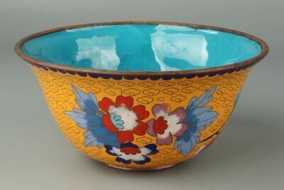 Chinese Exquisite Handmade flower copper Cloisonne bowl