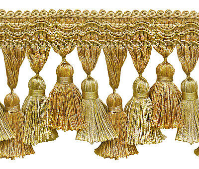 """Gold Navy Blue 1.25/"""" Brush Fringe Trim Admiralty By The Yard"""