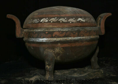 "12"" Antique Old Chinese Han Painting Pottery Dynasty Lids Incense Burner Censer"