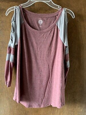 So Kohl's Pink and Gray Lace Up Arm Top Size XS
