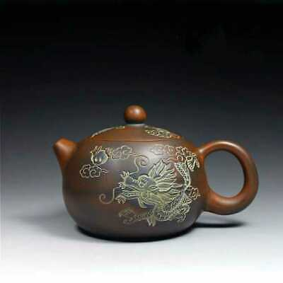 Chinese old fine handmade ceramics yixing zisha dragon Xishi teapot marked