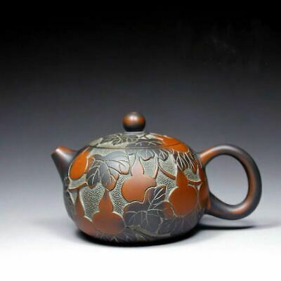 Fine Chinese old handmade ceramics yixing zisha gourd Xishi teapot marked