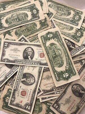 ✯1953-1963 Circulated RARE Two Dollar Bill $2 Note Fancy Red Seal Old Paper Lot✯