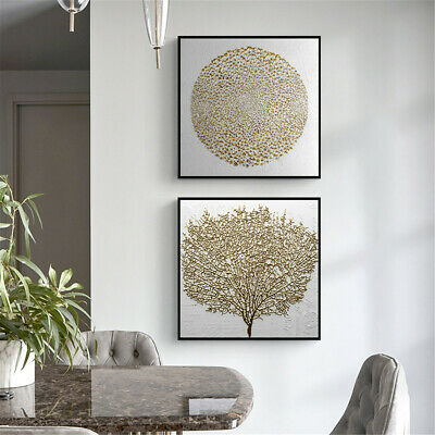 Circular Sun Tree Canvas Gold Foil Poster Art Print Wall Chic Picture Home Decor