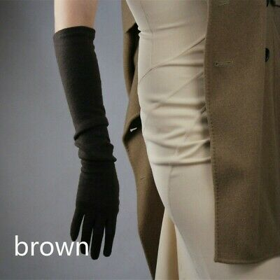 Ladies Wool Cashmere Gloves Wrist Long Evening Opera Party Black Red Retro SPW