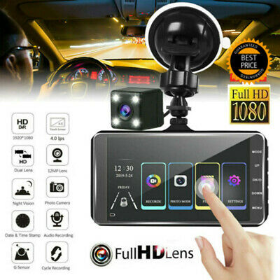 4'' Dual Lens auto DVR 1080p Dash Cam Recorder Touching Front & Rear Car Camera