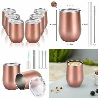 Vacuum Insulated Wine Tumbler Stemless Double Wall Stainless Steel 12oz Set of 6