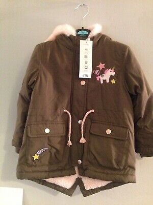 Girls Unicorn Greem Parker Coat Agrd 3/4 Years Rrp £18