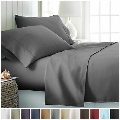 1000TC Ultra Soft 4pcs Flat & Fitted Bed Sheets Set Single/Queen/King Size New