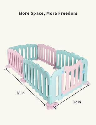 Baby Playpen 6 Panel Foldable Kids Safety Play Center Yard Fence Indoor/Outdoor
