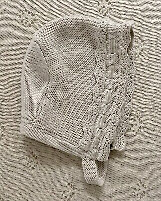 Mayoral Girls Knitted Bonnet Soft Oatmeal 24 Months. Never Worn.