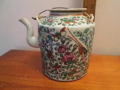 "Antique 1800s Chinese Export Famille Rose Porcelain Teapot Canton - 5-3/4"" Tall"