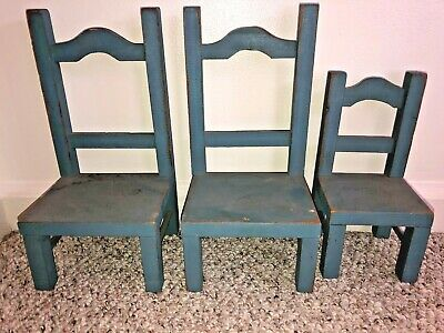 Vintage Set 3 Handmade VT Wood Stained Blue Doll Chairs - Mom Dad & Child Size