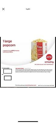 2X Amc Large Popcorn-Expires 6/30/2020-Email Delivery